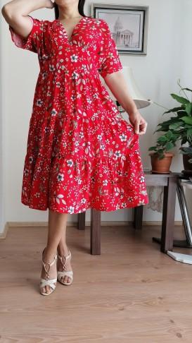 Rahat Kalıp Çiçekli Elbise -Kırmızı