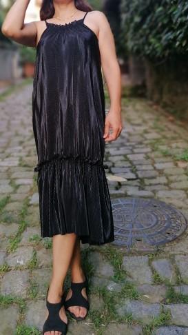 Askılı Fitilli Elbise Siyah