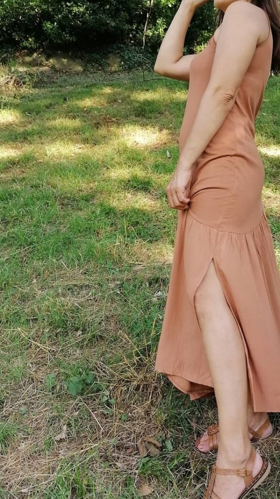 Tek Omuz Askılı Viscon Uzun Elbise - Kahverengi