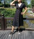 Önden Düğmeli Uzun Elbise - Siyah
