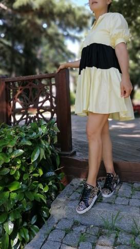 Poplin Kumaş Kısa  Elbise - sarı/siyah