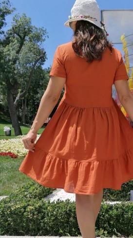Keten Kısa Çan Elbise _ Tarçın