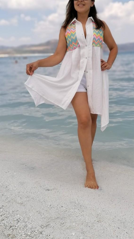 Keten Gömlek Elbise Desenli Kısa _ beyaz