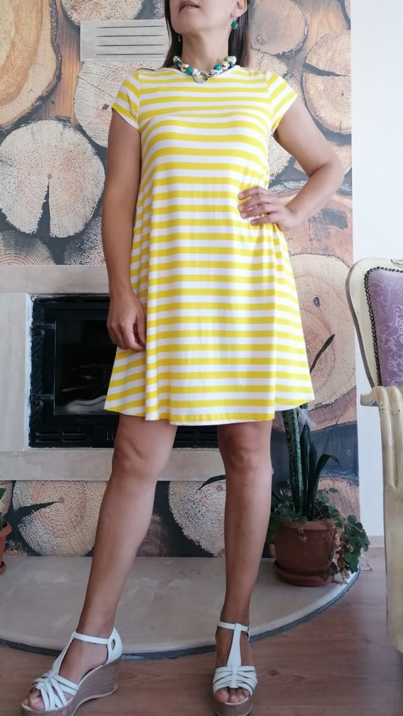 Çizgili Çan Model Kısa Pamuklu Elbise - Sarı