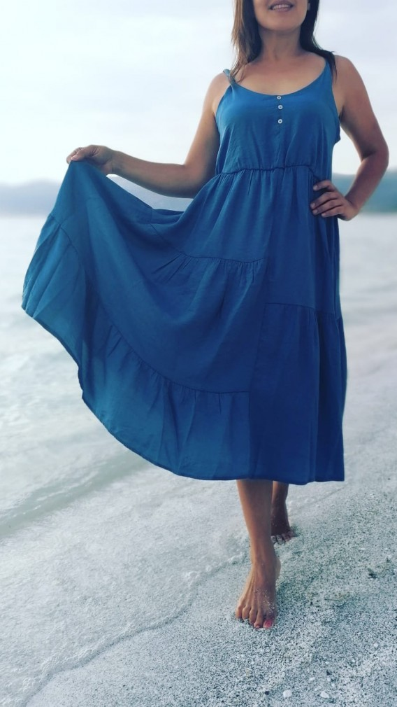 İndigo Askılı Uzun Elbise - Mavi