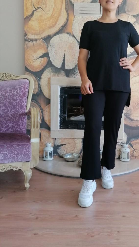 Kaşkorse Kumaş Pantalonlu İkili Takım - siyah
