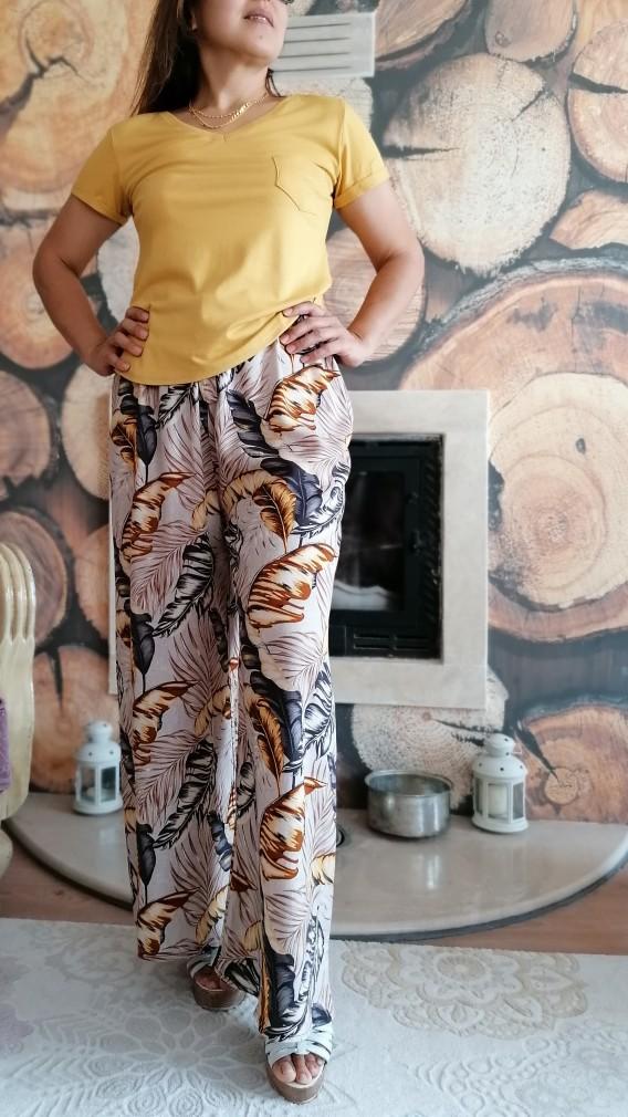 Desenli Dokuma Pantalon ve Cepli Bluz Takım