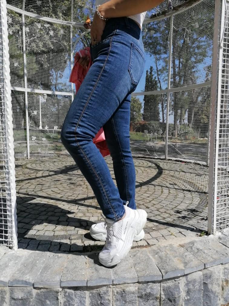 Ful Likralı Jean Pantalon - Mavi