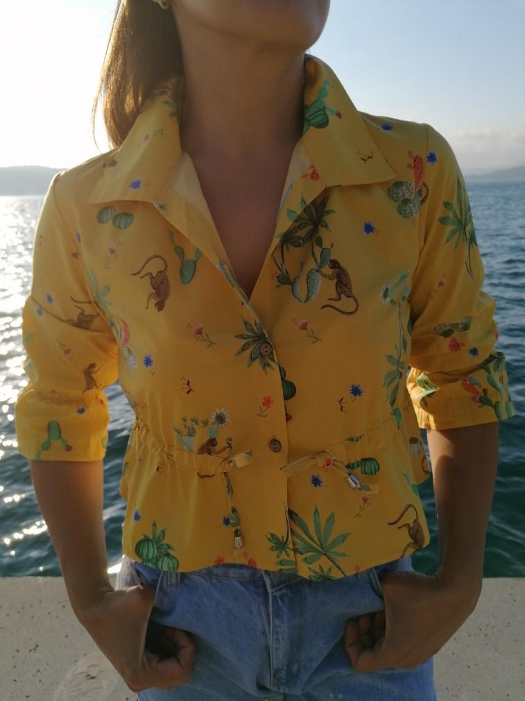 Animal Desen Gömlek - Sarı