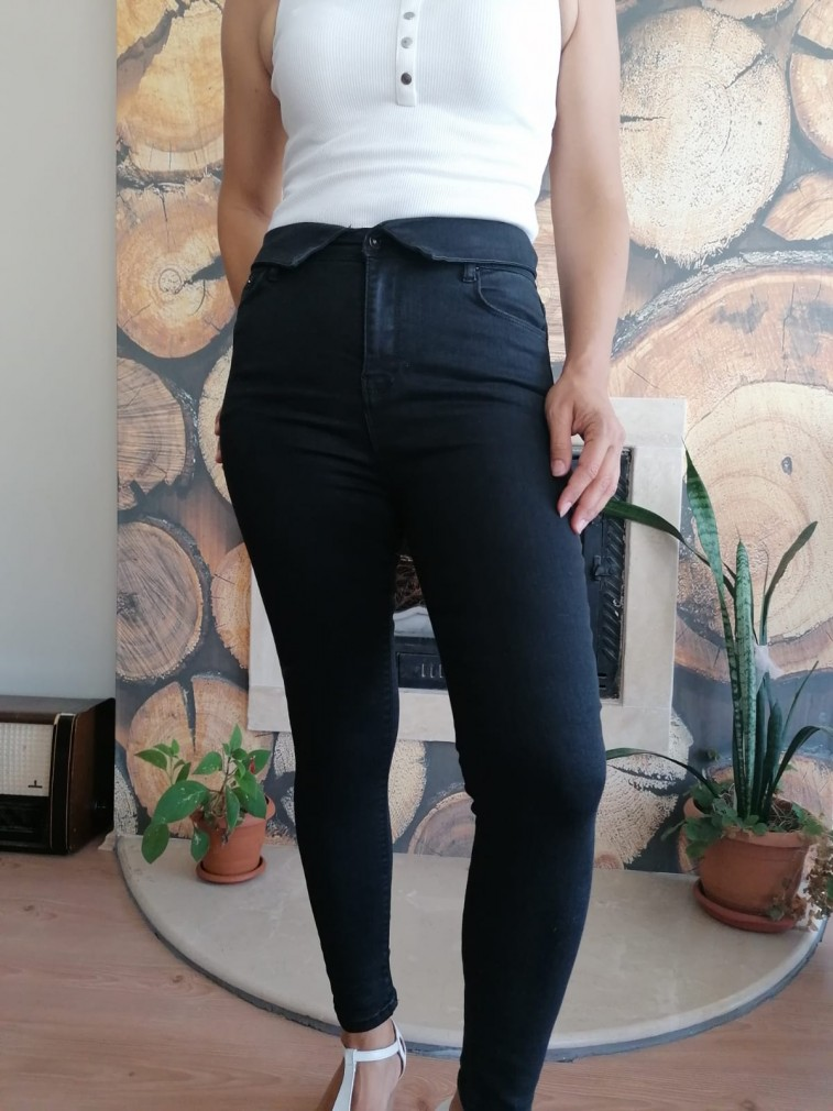 Likralı Yüksek Bel Jean Pantalon - Siyah