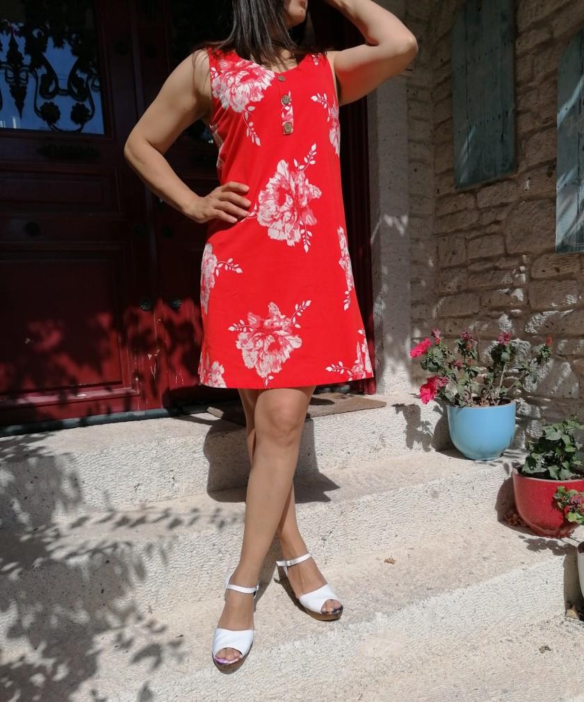Çiçekli Mini Elbise - Kırmızı