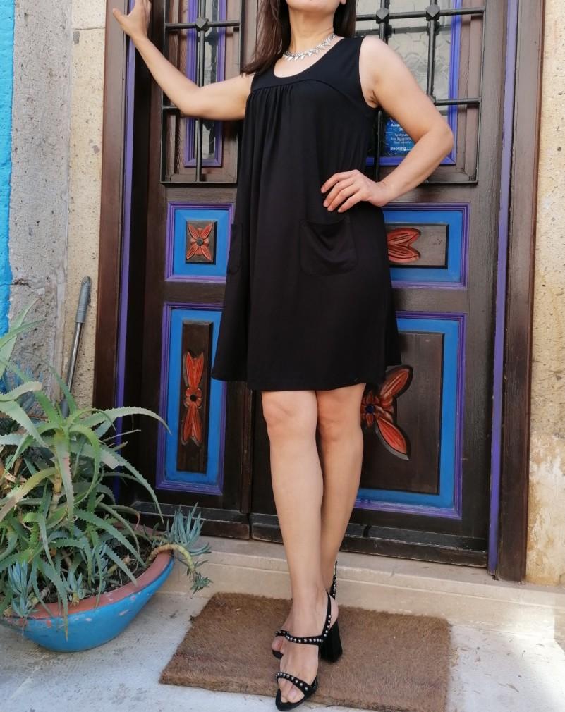 Cep detaylı Çan Elbise - Siyah