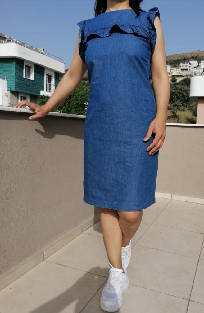 Rahat Kalıp Jean Elbise - Mavi