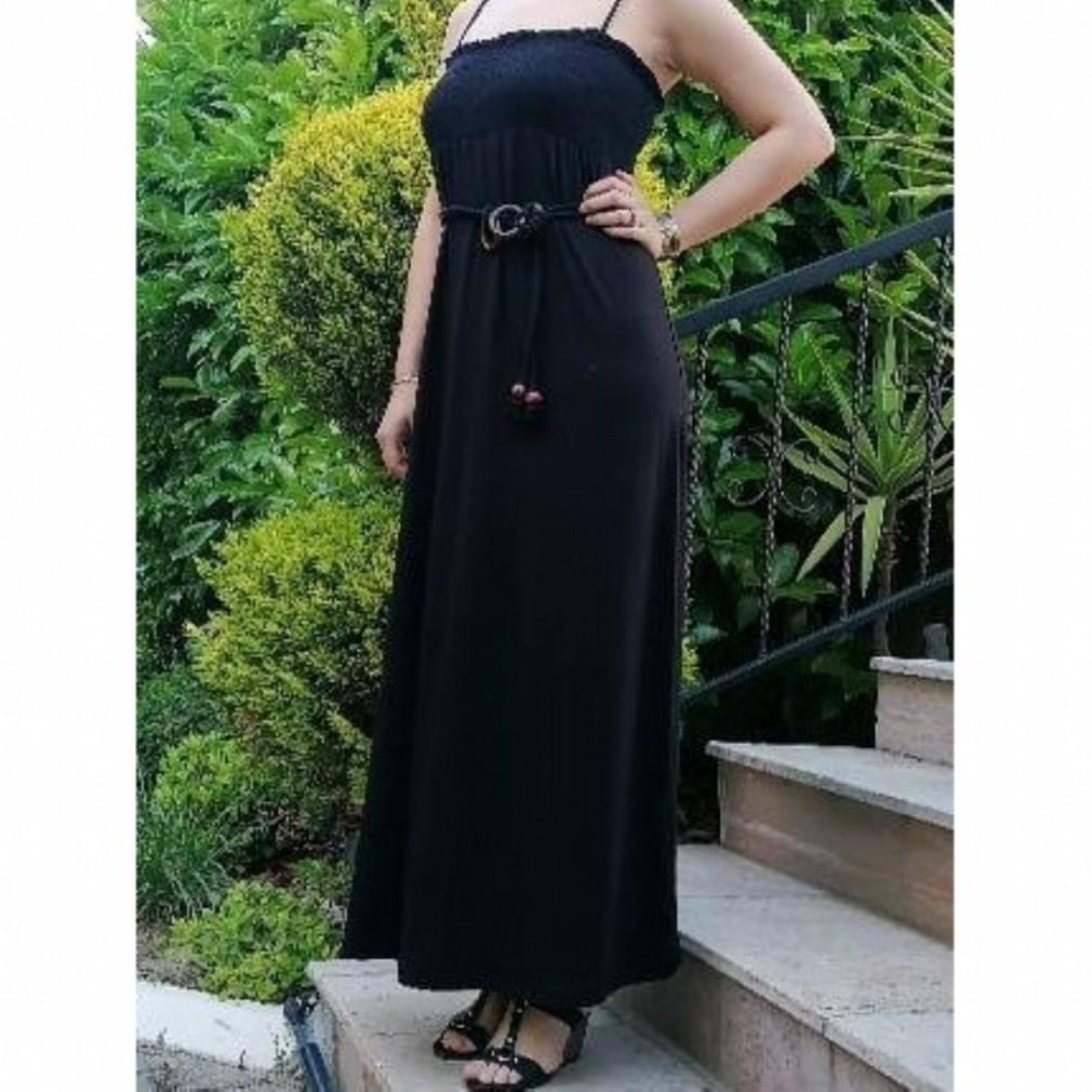 Uzun Rahat Kalıp Elbise - Siyah