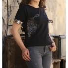 Kaplan Desenli Tshirt - Siyah