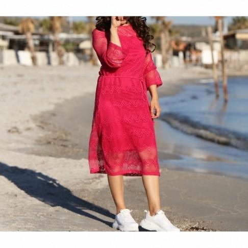 Fuşya Astarlı File Elbise - Kırmızı
