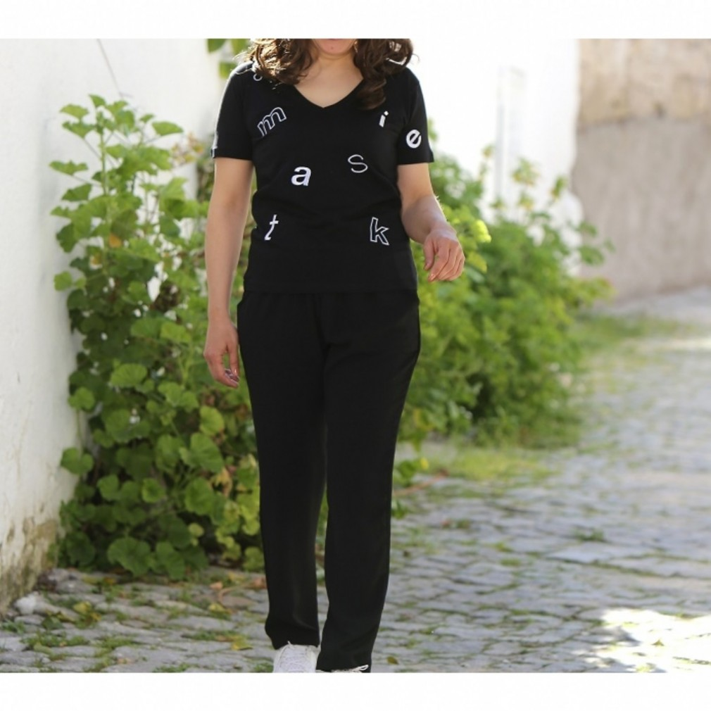 Dökümlü Rahat Kalıp Pantalon - Siyah