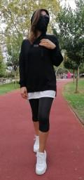 Kapüşonlu Sweatshirt  - Siyah