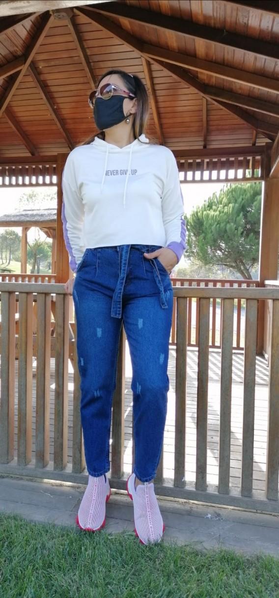 Beli Kuşaklı Mom Jean - Mavi