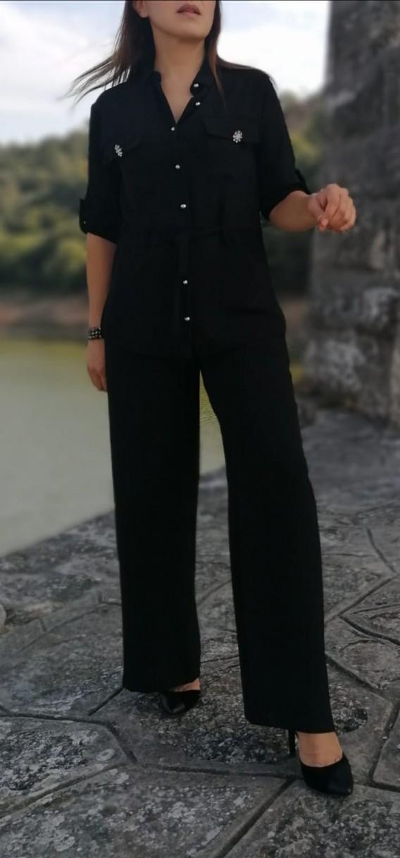 Krep Kumaş İkili Rahat Kalıp Takım - Siyah