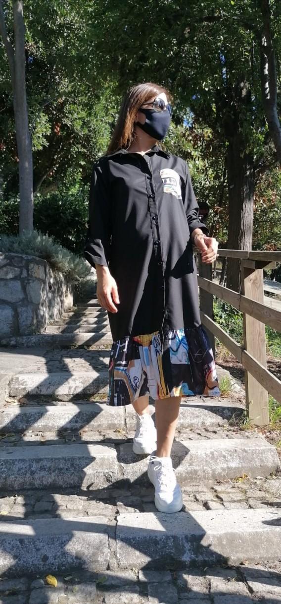 Gömlek Elbise Etek Ucu Baskılı - Siyah