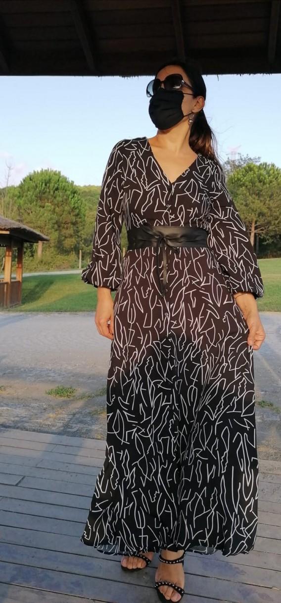 Beli Kemerli Uzun Tam Kalıp Viskon Elbise