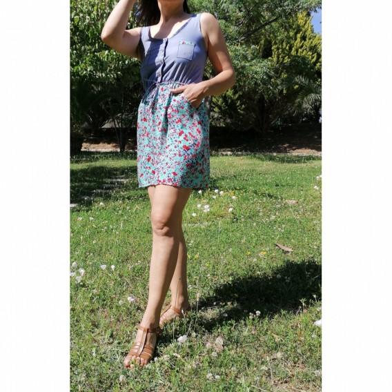 Çiçekli Kısa Viskon Elbise - Mavi
