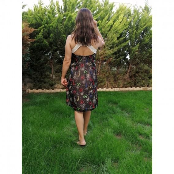 Sifon Elbise Kısa Desenli - Siyah/Beyaz