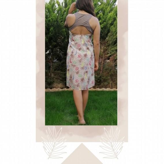 Sifon Yazlık Kısa Elbise _ Krem