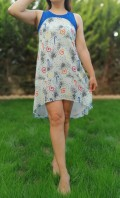 Omuz Kısmı Mavili Sifon Kısa yazlık Elbise