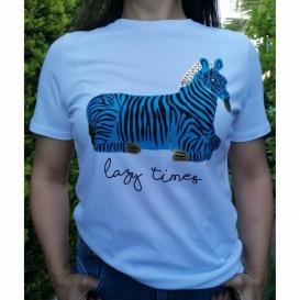 Zebra Desenli Tshirt - Beyaz