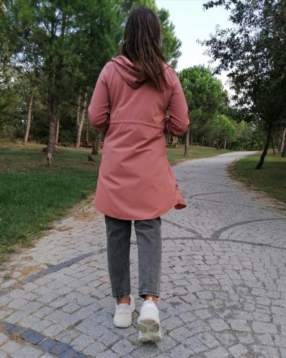 Kapüşonlu Rahat kalıp Fermuarlı Trençkot - Pudra