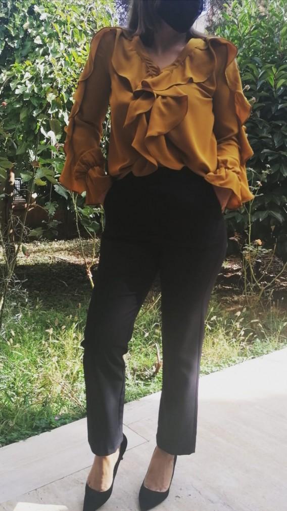 Şifon Fırfır detaylı Gömlek - Hardal