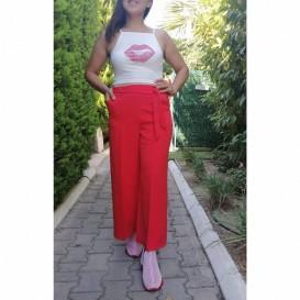 Pantalon Beli Kuşaklı - Mercan Kırmızı