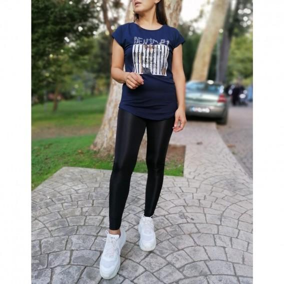 Önü Metal İşlemeli Tshirt - Lacivert