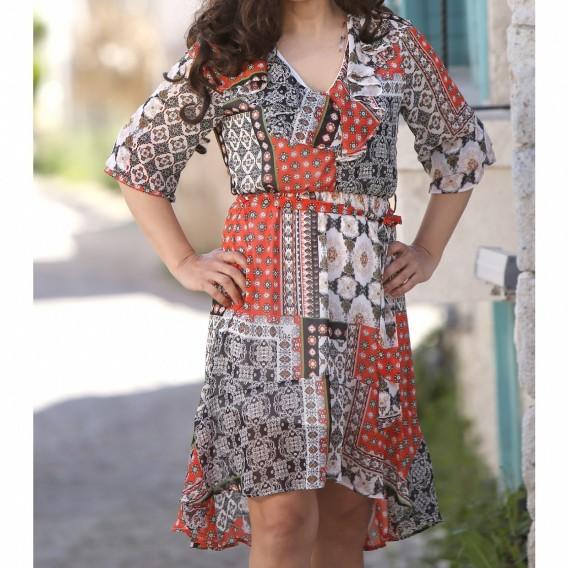 Etnik Desen  Sifon elbise