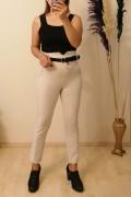 Likralı Kemerli pantalon - Bej