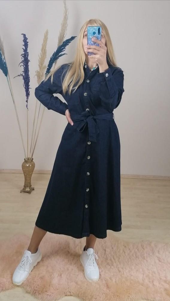 Jean Önden Düğmeli Uzun Elbise - Lacivert