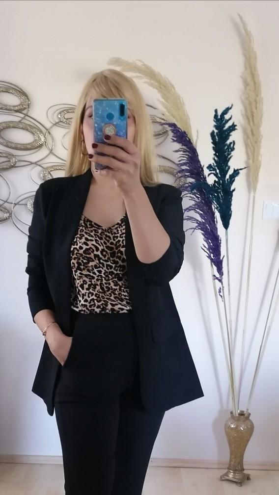 İkili Atlas Kumaş Blazer Takım -  Siyah