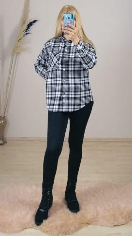 Oduncu Ekose Gömlek Kapüşonlu - Siyah beyaz