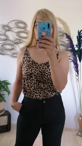 Leopar Desenl Askılı Bluz - Leopar