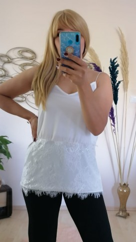 Şifon Askılı Etekleri Dantel İşlemeli Bluz - Beyaz