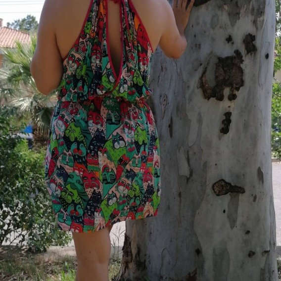 Kedi Desenli Viskon elbise