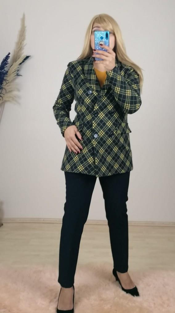 Kaşe Kışlık Ceket - Sarı Siyah