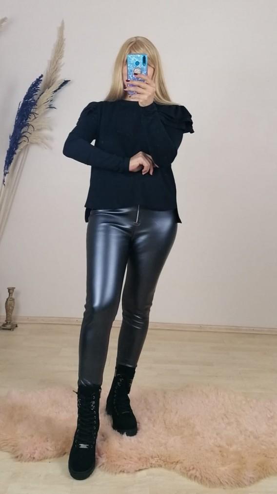 Likralı Deri Tayt  Pantalon - Antrasit
