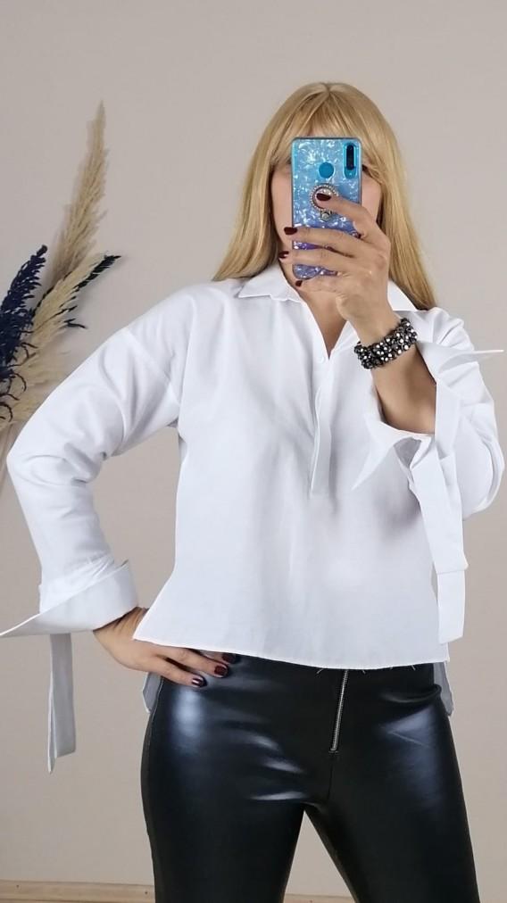 Poplin Kolları Manşetli Uzun Kol Gömlek - Beyaz