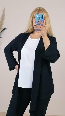 Krep Kumaş İkili Rahat Kalıp Bluz - Siyah- Beyaz