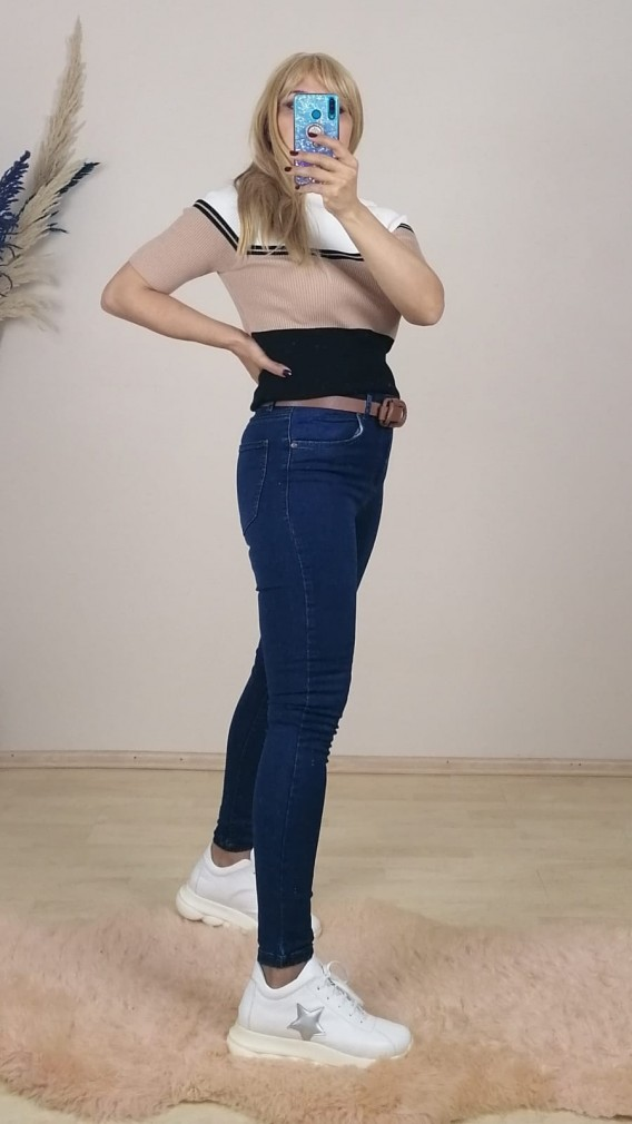 Ful Likralı Skınny Jean Pantalon - Mavi