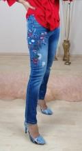 Çiçek İşlemeli Likralı  Jean pantolon - Mavi