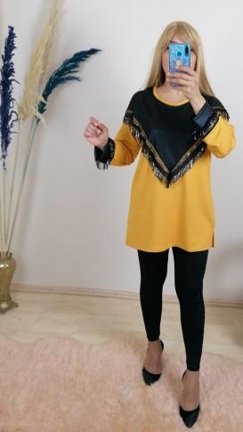 Deri ve Pul İşlemeli Rahat Kalıp Bluz - Sarı